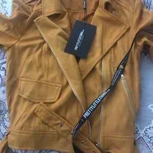 Mustard biker suede inspired jacket